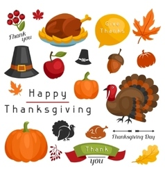 set happy thanksgiving day holiday objects and vector image