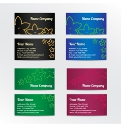 Set of colorful business card with abstract vector image