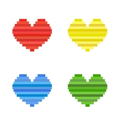 set of pixel art heart flat design symbol of love vector image