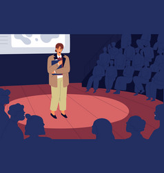 Shy nervous unconfident woman standing on stage vector