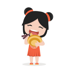 small girl eating a bowl of noodle vector image
