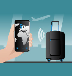 Smart baggage with built-in gps tracking vector