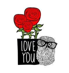 Smart owl in love cover print vector