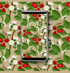 smartphone with colorful wallpaper seamless vector image