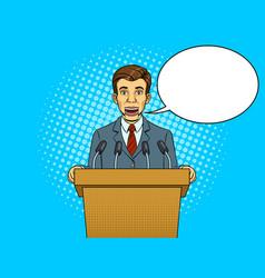Speaking puppet on tribune pop art style vector
