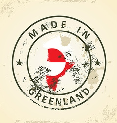 Stamp with map flag of Greenland vector image
