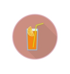 symbol of fresh orange juice cocktail Flat vector image vector image