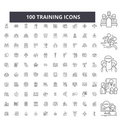 training editable line icons 100 set vector image