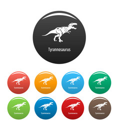tyrannosaurus icons set color vector image