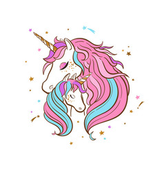 Unicorn family love magic dream 3 vector