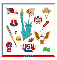 Usa country symbols isolated set vector