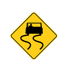 usa traffic road sign slippery when wetuse vector image