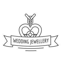 Wedding jewellery logo outline style vector