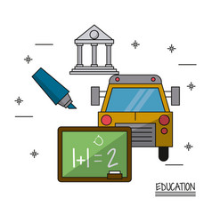 White background poster education with icons vector