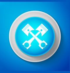 White two crossed engine pistons icon isolated vector