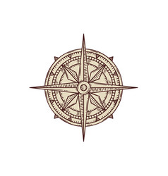 Wind rose for old pirate treasure map vector