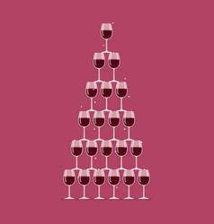 wine glasses stacked in a pyramid tower vector image