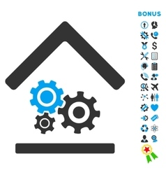 Workshop Flat Icon with Bonus vector image