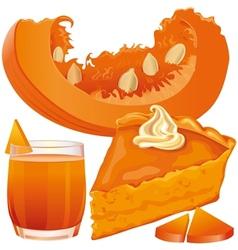 Pumpkin pie and juice vector image vector image