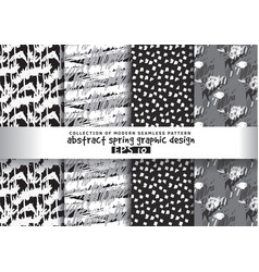 set spring floral background grayscale seamless vector image