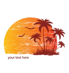 vintage summer background with palm trees and vector image