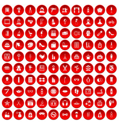 100 beauty and makeup icons set red vector