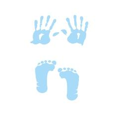 baby boy handprint footprint vector image