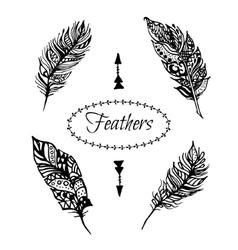 Hand drawn zentangle black feathers set vector image vector image