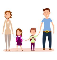 happy cartoon family with small kids vector image
