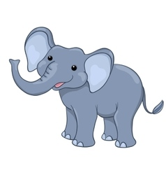 Happy elephant isolated on white vector image