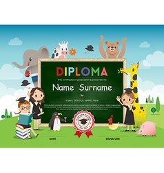 Kids Diploma certificate with animal cartoon vector image vector image
