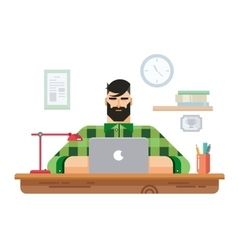 Man at a Desk in Front of Laptop vector image vector image