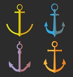 Set of anchor symbols or logo vector image vector image