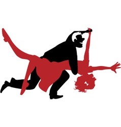 Silhouette of a couple dancing swing or rock n rol vector image vector image