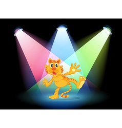 A tiger in the middle of the stage vector image