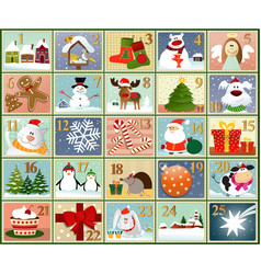 advent stamps calendar vector image vector image