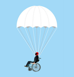 Disabled skydiver isolated wheelchair on vector