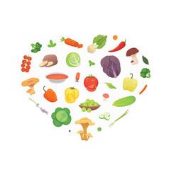 heart of cartoon vegetables healthy food vector image