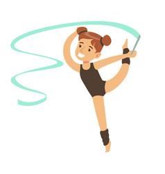 little girl doing gymnastics exercise in class vector image vector image