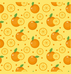 Orange seamless pattern mandarin citrus endless vector