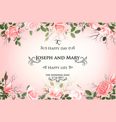 postcard with delicate flowers roses wedding vector image