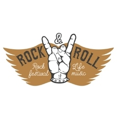 Rock festival Human hand with rock and roll sign vector image