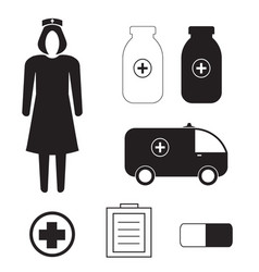 set with medicine icons vector image