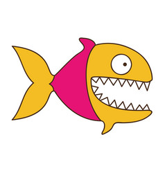 silhouette color of piranha with big teeths vector image