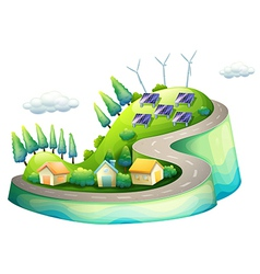 A full view of a city with windmills vector image