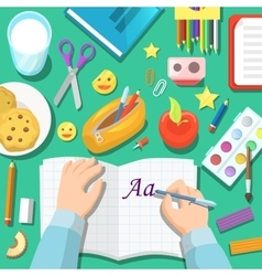 Back to School Children Table with Notepad vector image