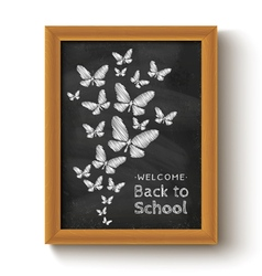chalkboard butterfly black vector image vector image