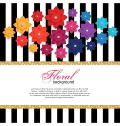 Floral greeting card with paper flower and gold vector image