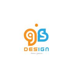 gs g s orange blue alphabet letter logo vector image vector image