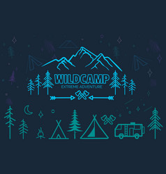hand drawn sketch camping icons set vector image vector image